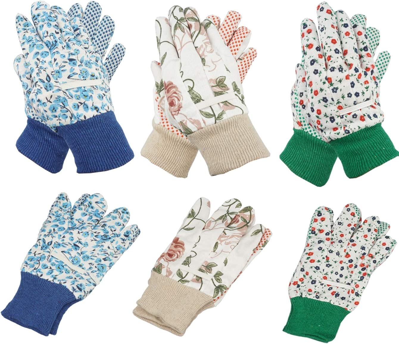 YOPAY 6 Pairs Garden Gloves, Soft Jersey Garden Gloves for Women, Men, Rubbuer Dots Cotton Working Gloves for Planting, Seeding, Fishing, Restoration Work, 3 Colors