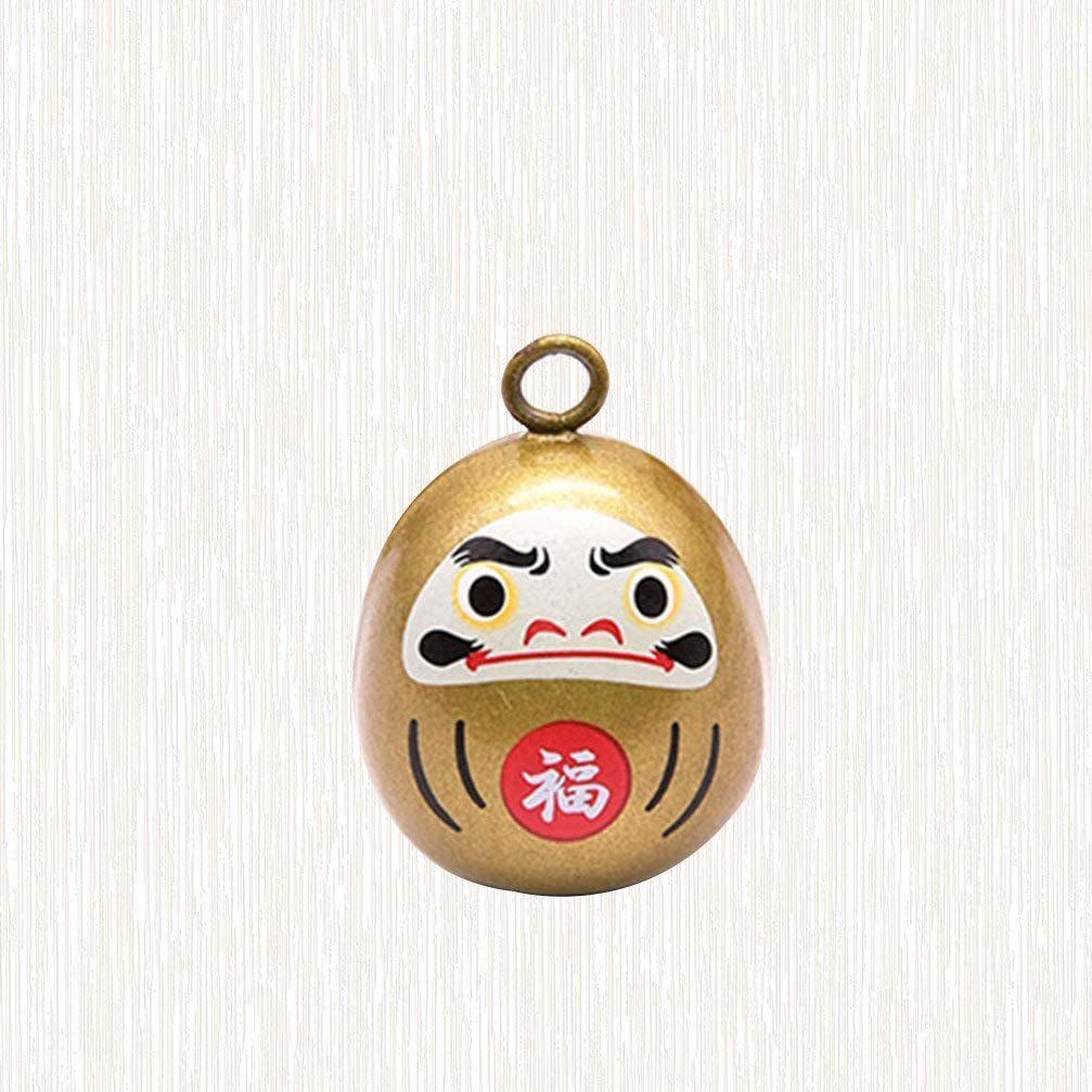 Black Healifty Japanese Style Bell Daruma Bell Decorative Bell Pendants for DIY Crafts Bag Purse Backpack Hanging Charm