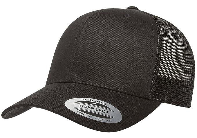 f3347c15aa22b0 Amazon.com: Flexfit/Yupoong 6606,6606T Retro Trucker Hat (Black ...