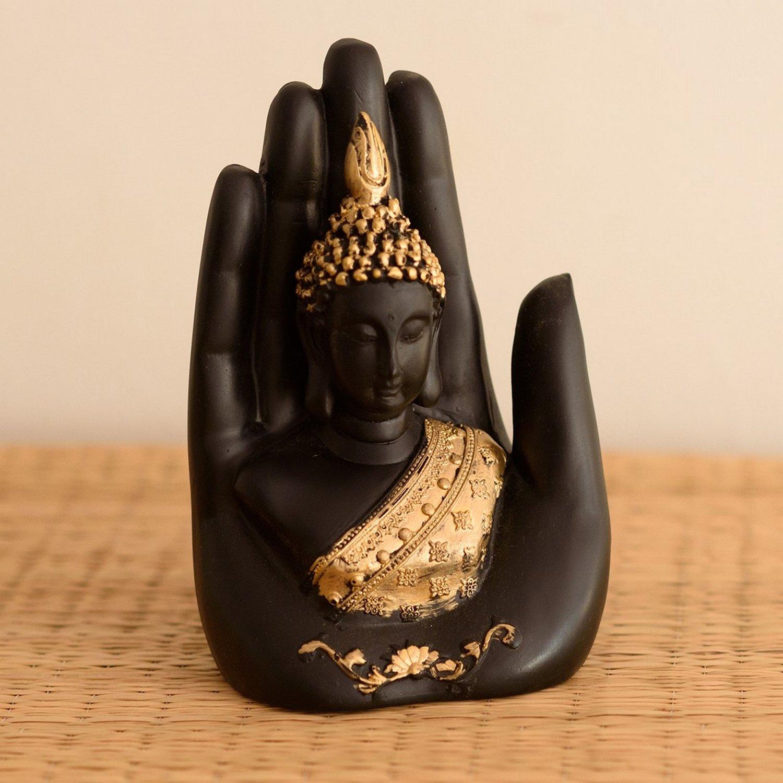 eCraftIndia Golden Handcrafted Buddha Palm