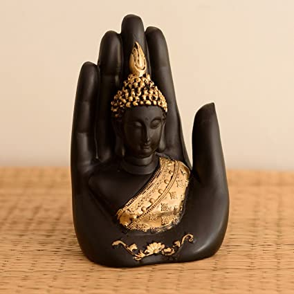 eCraftIndia Polyester Idol Buddha Embossed in Palm (12.5 cm x 7.5 cm x 17.5 cm, Black and Gold)
