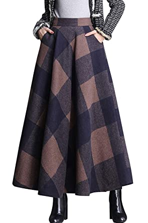 45e22acc42 chouyatou Women's Retro High Waist A-Line Swing Plaid Maxi Wool Skater Skirt  Hand Pocket