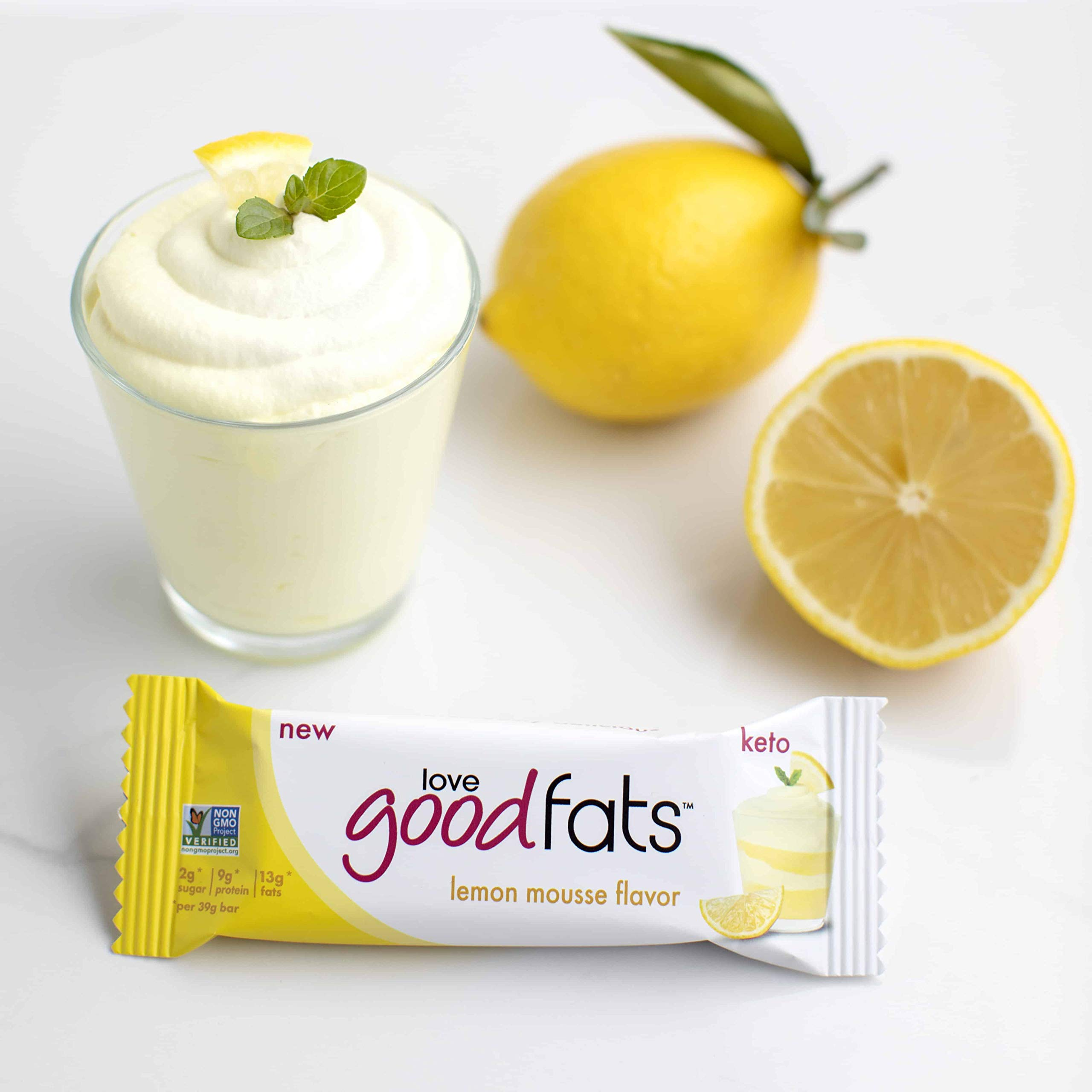 Love Good Fats - Lemon Mousse Keto Bars - Keto Friendly Protein Bars with Natural Ingredients - Gluten-Free, Low Carb Ketogenic Bar with 9g of Protein and Coconut Oil - 1.32 oz Bars (12 Count)