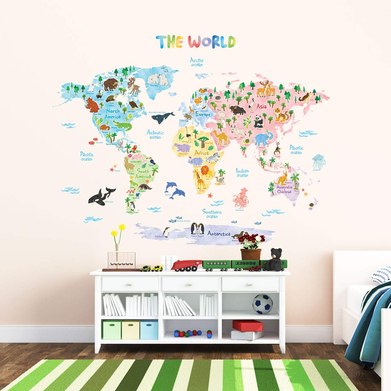 Decowall DLT-1615 Animal World Map Kids Wall Decals Wall Stickers Peel and Stick Removable Wall Stickers for Kids Nursery Bedroom Living Room (XLarge) by Decowall (Image #4)