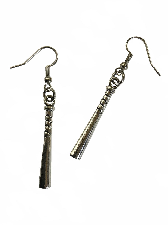 Baseball Bat Pewter Nickel Free Hooks Earrings