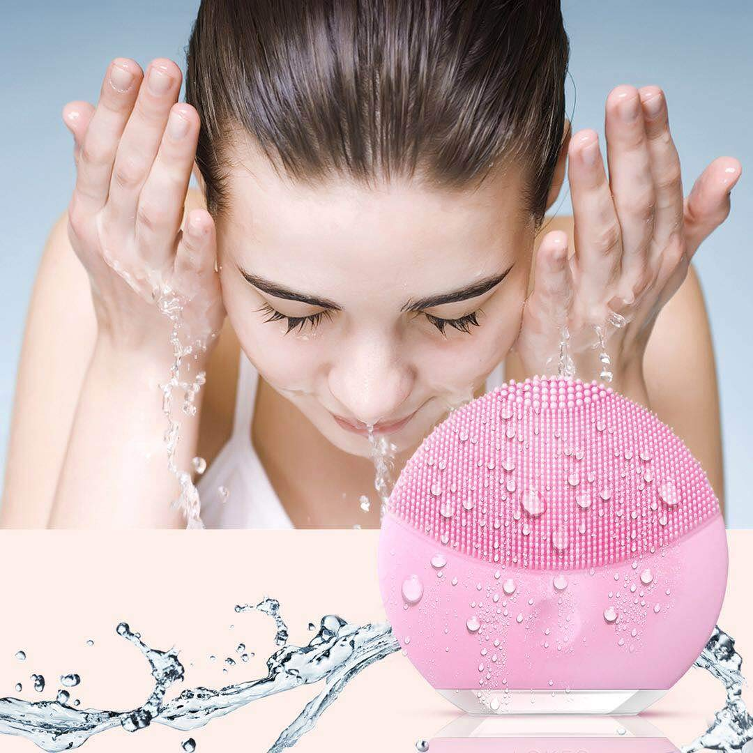 Silicone Facial Cleanser, Xiaoyi Facial Cleansing Brush Sonic Electric Waterproof Silicone Face Massager Anti-Aging Skin Cleansing System for All Skin Types-Pink LTD