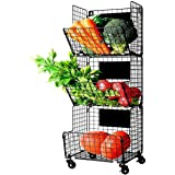 X-cosrack 3 Tier Metal Wire Baskets -Wall Storage Basket Organizer with Wheel, S-Hooks,Adjustable Chalkboards- Hanging…