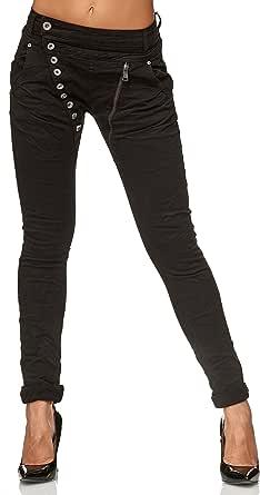 Elara Jeans para Mujer Boyfriend Botones Chunkyrayan