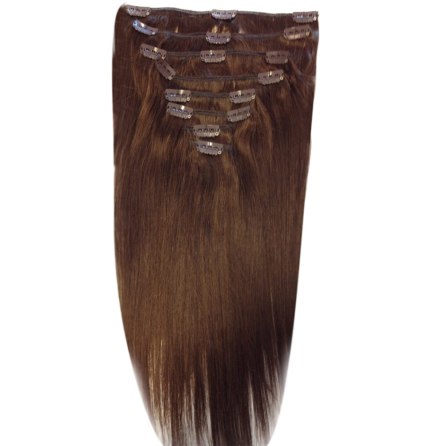 24 inch chocolate brown 4 full head clip in human
