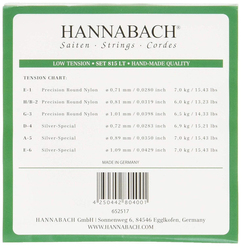 Hannabach 652527 Cordes pour Guitare classique S/érie 815 Medium Tension Silver Special 815MT