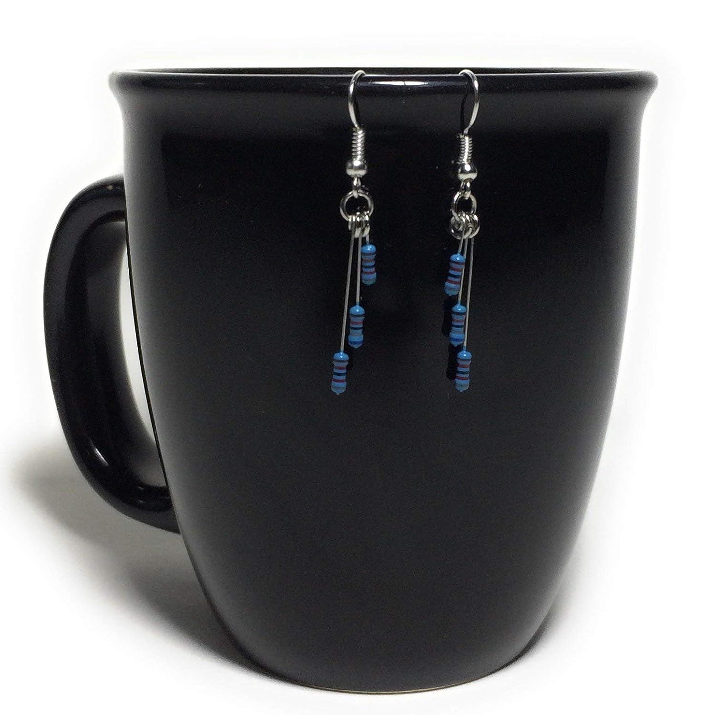 Blue Electronic Resistor Tiered Drop Earrings