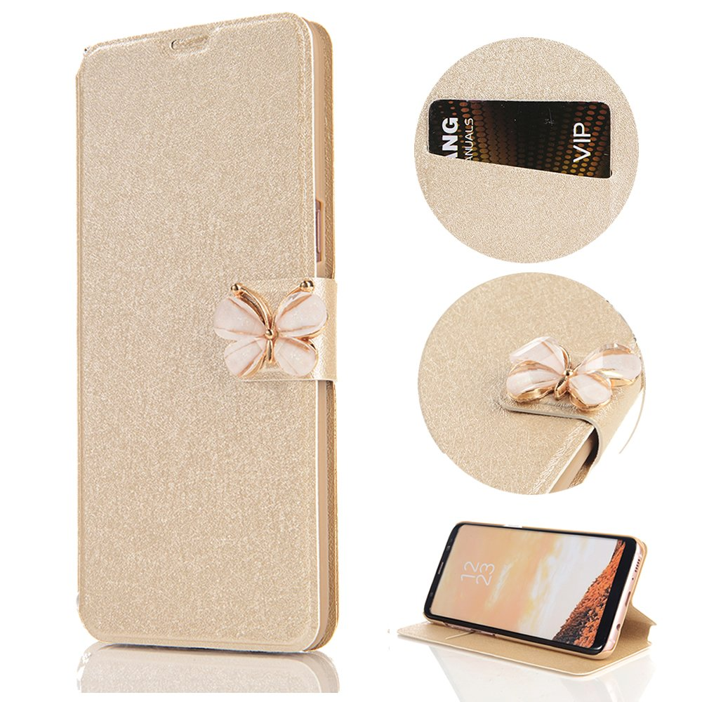 Stysen Galaxy S9 Plus Wallet Case,Shiny Silk Pattern Gold Pu Leather Bookstyle Strass Butterfly Buckle Protective Wallet Case Cover for Samsung Galaxy S9 Plus-Butterfly,Gold