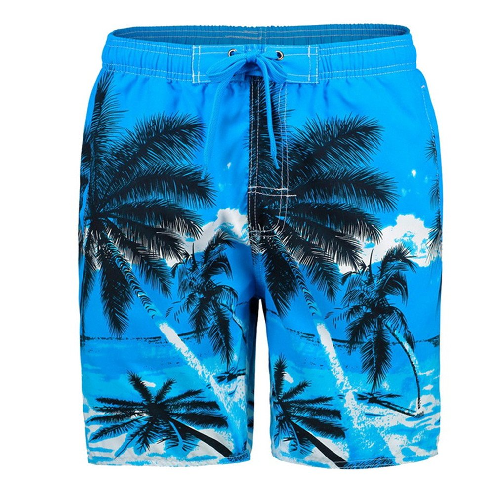 Man Swimwear Short Summer Tree Surf Beach Shorts Sky Blue 4XL