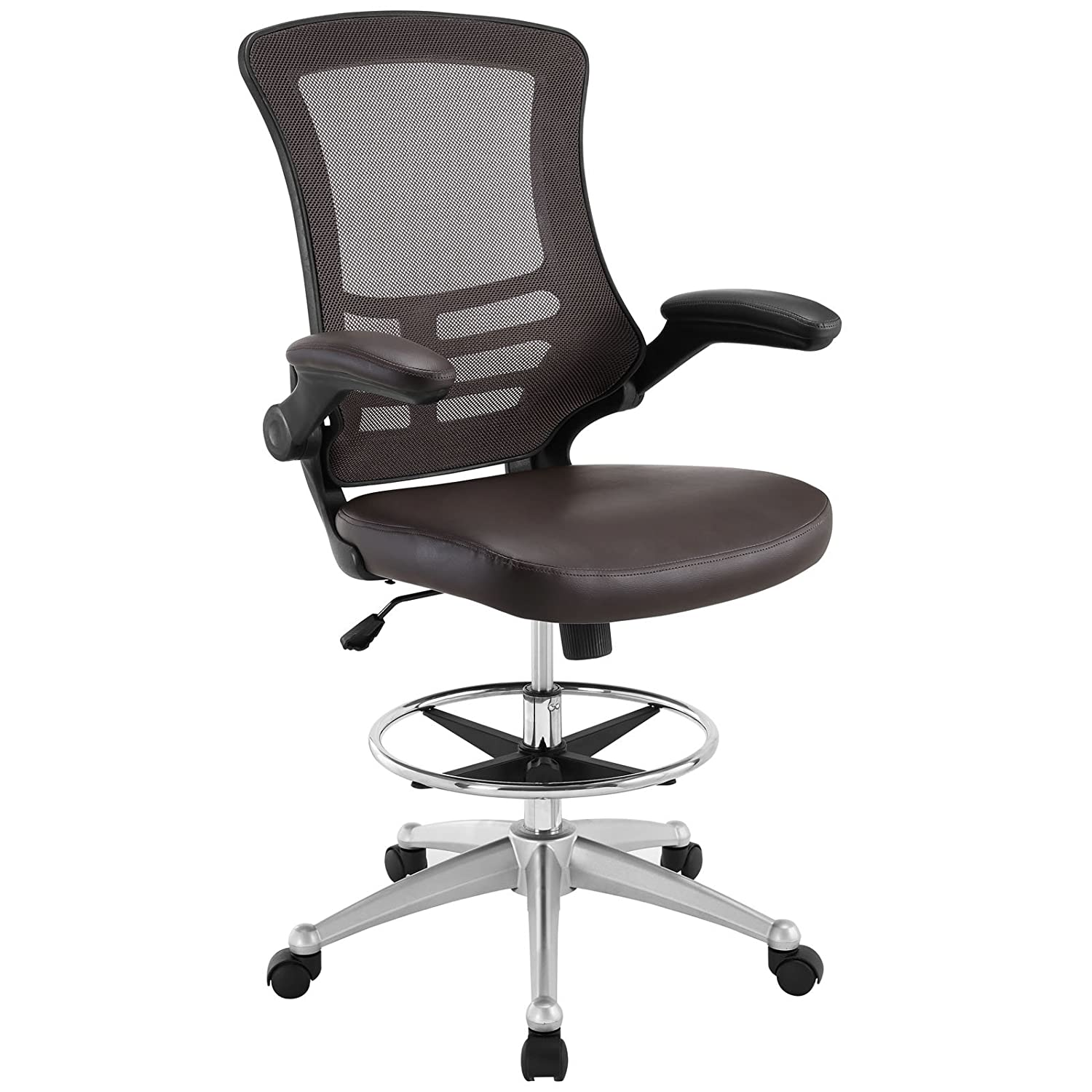 Amazon Modway Attainment Drafting Chair In Brown Reception