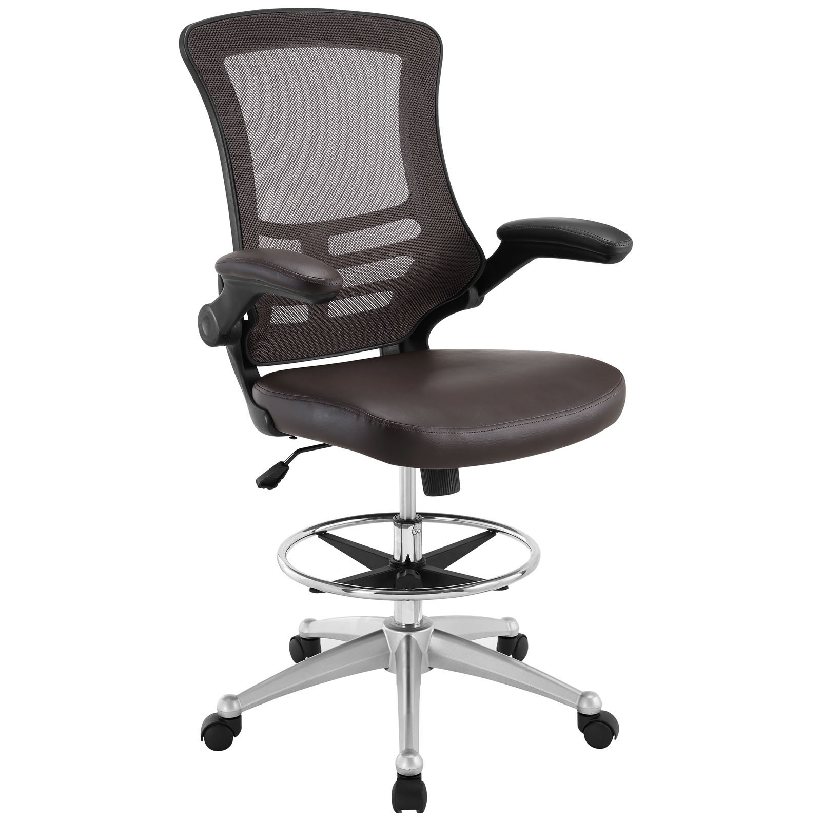 Modway Attainment Drafting Chair In Brown - Tall Office Chair For Adjustable Standing Desks - Drafting Stool With Flip-Up Arm Drafting Table Chair