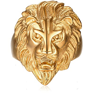fbb8864c72 BEMI Cool Style 18K Gold Lion Head Band Ring Birthday Personality Statement  Rings for Mens 8