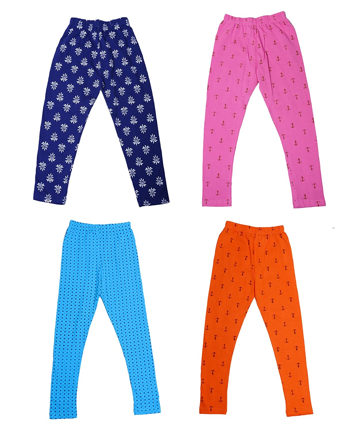 Indistar Girls Super Soft and Stylish Cotton Printed Legging Pants Pack of 5