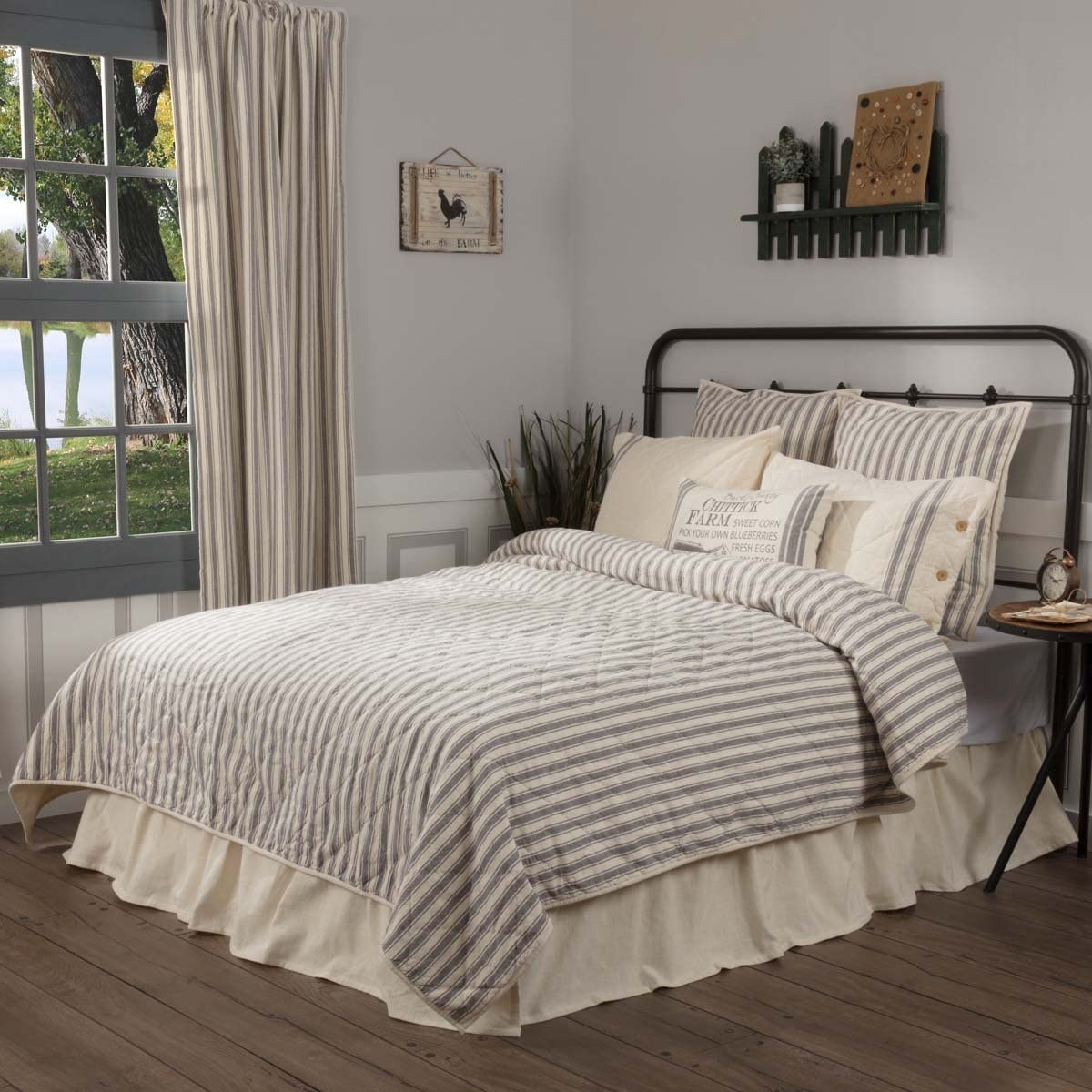 """Piper Classics Market Place Ticking Stripe Quilt, King, 95"""" x 105"""", Grey & Cream Quilted Modern Country Farmhouse Style Bedding"""