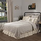 "Market Place Ticking Stripe Quilt, Queen, 90"" x 90"", Gray & Cream Quilted Modern Country Farmhouse Style Bedding"