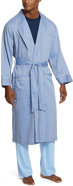 Nautica Men's Long Sleeve Lightweight Cotton Woven Robe at  Men's Clothing store