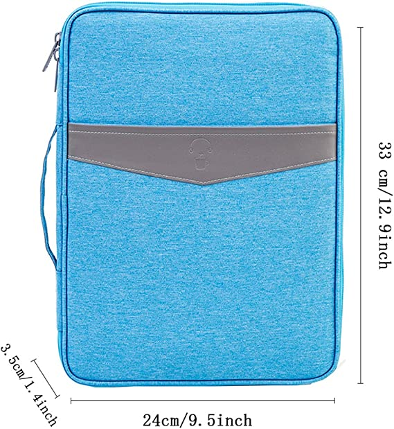 Blu iSuperb Porta Documenti A4 Viaggio Borsa Porta Passaporto Impermeabile Valigetta Ventiquattrore per Uomo e Donna 33x24x3.5cm