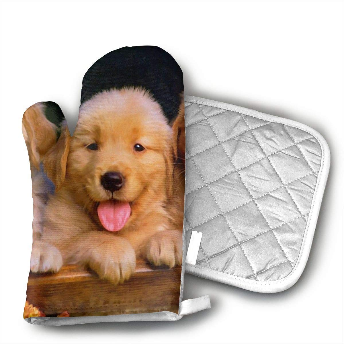 HGUIDHG Cute Puppies Golden Retriever Oven Mitts+Insulated Square Mat,Heat Resistant Kitchen Gloves Soft Insulated Deep Pockets, Non-Slip Handles