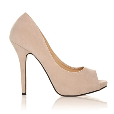TIA Nude Faux Suede Stiletto High Heel Platform Peep Toe Shoes ...