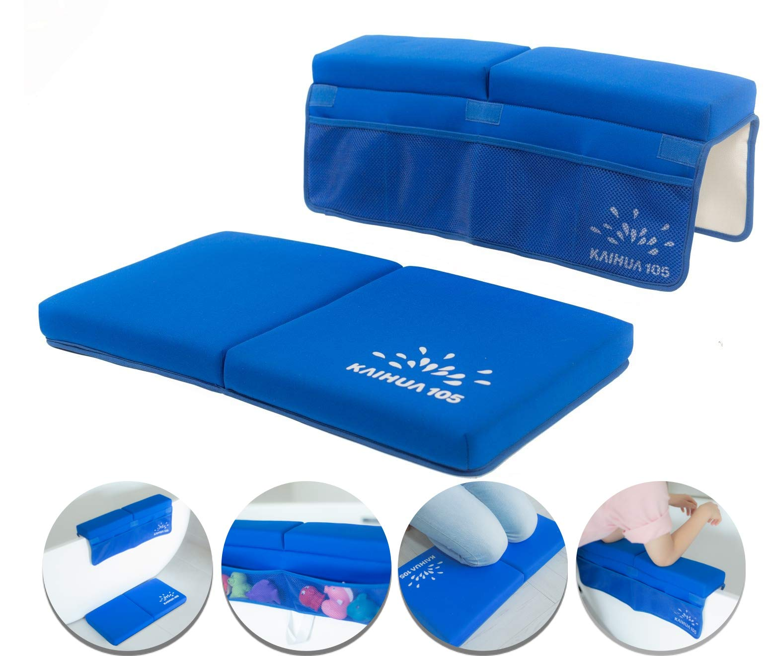 Bath Kneeler and Elbow Rest Pad Set, 1.5 inch Thick Bath Kneeling Pad, Bathtub Elbow Support with 6 Mesh Pockets, Non-Slip Rubber Backing, Baby Stuff and Accessories for Bath Time, Baby Shower Gifts by Kaihua105