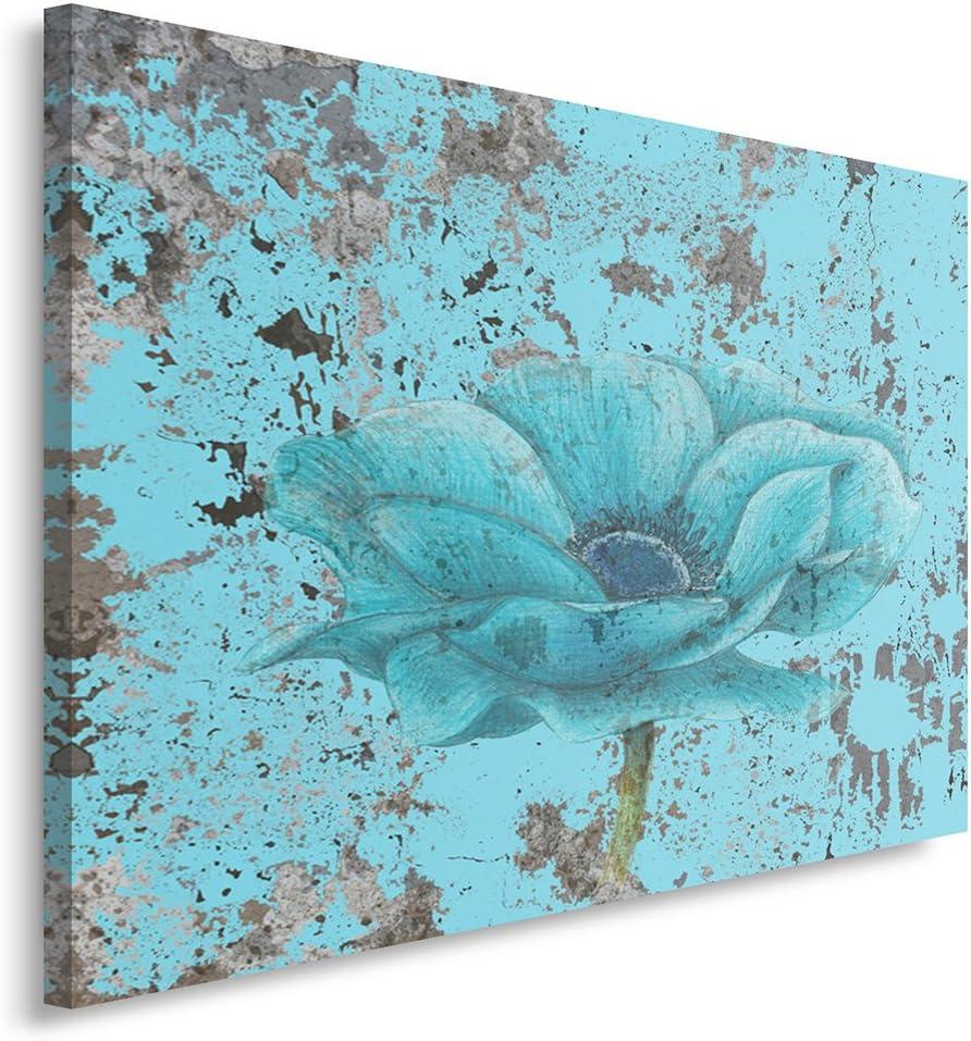Feeby Frames, Cuadro en Lienzo, Cuadro impresión, Cuadro decoración, Canvas de una Pieza, 80x120 cm, Flores, Naturaleza, Azul, Arte, Color, Vintage