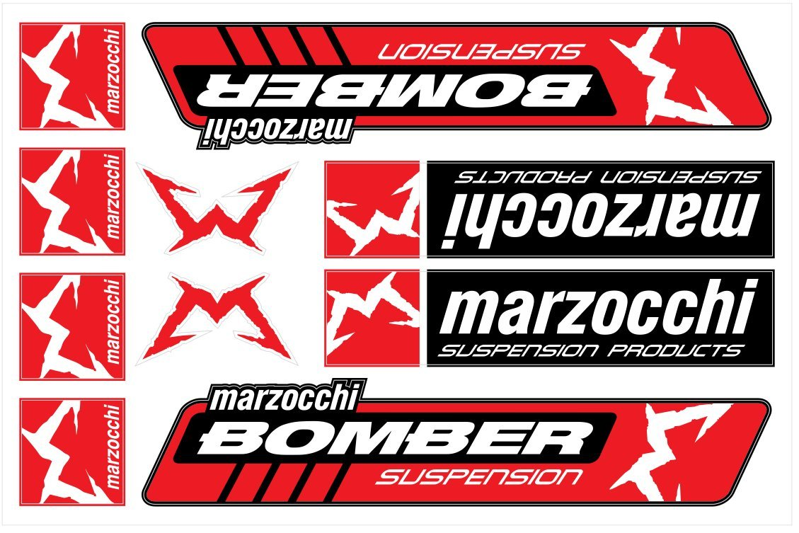 Marzocchi Stickers Decals 30x20cm vinyl with extra protection on top (Red) Life Decor CC042P