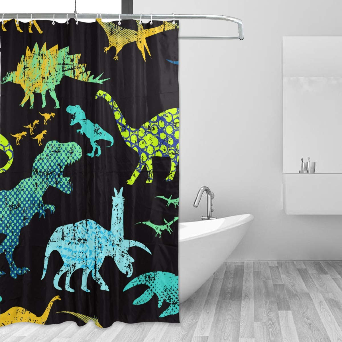ae359a5de38 Amazon.com  TaTaisu Spa Shower Curtain with Hooks Dinosaur Black for  Bathroom and Bathtubs Decoration Decor 60x72 inches  Home   Kitchen