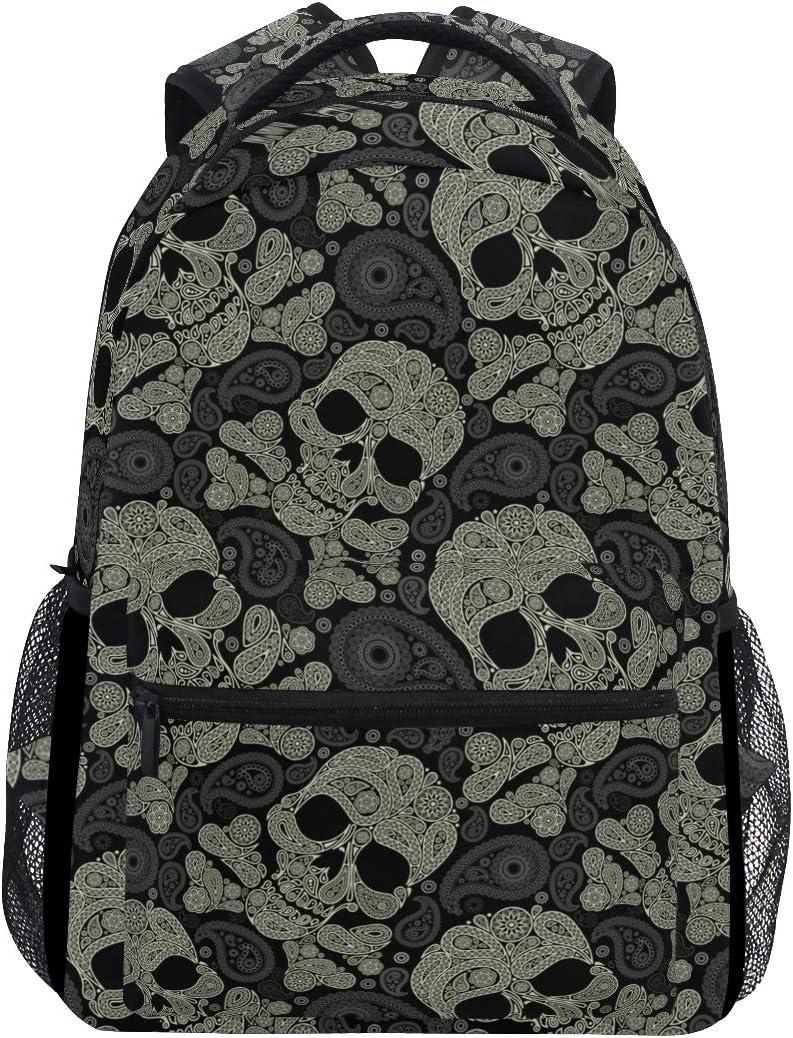 Skull Travel Laptop Backpack for School Girls & Boys Kids Elementary Day of The Dead Skull Skeleton Student Bookbag Daypack Shoulder Bag
