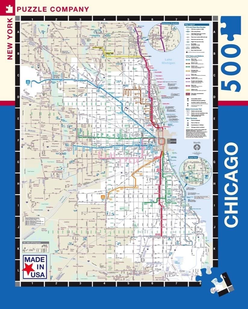 New York Puzzle Company - Chicago Transit CTA Transit Puzzle - 500 Chicago Subway Map on green line, chicago area rail map, chicago bridge map, the loop, chicago suburbs map, chicago loop map, chicago street map, chicago attraction map interactive click, chicago cta map, chicago neighborhood map, chicago transit authority, new york city subway, chicago weather, chicago metra train inside, chicago metro system, chicago walmart map, wmata map, chicago l map, chicago transit, chicago ell map, pink line, chicago cvs map, chicago bus map, chicago metra map, downtown chicago map, red line, blue line, orange line,