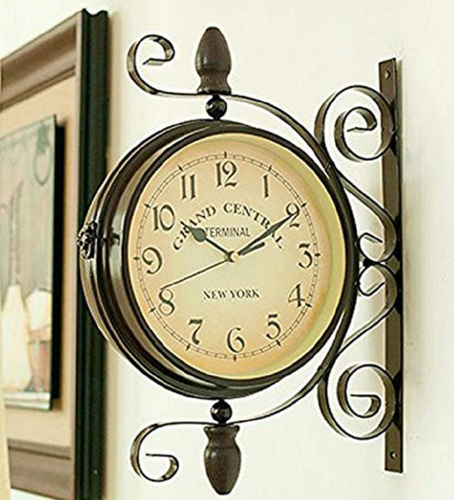 Amazon.com: Wrought Iron Rotatable Double Sided Wall Clock Round ...