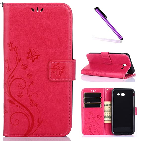 J3 2017 Case,Samsung Galaxy J3 Prime Case, LEECOCO Embossed Butterfly  Floral Case with Card Slots Shockproof PU Leather Wallet Flip Stand Case  for