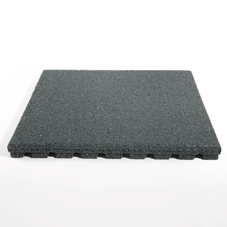etm® Fallschutzmatte für Außenbereich | Unterseite mit Drainage | Größe 50x50 cm | TÜV geprüft | Fallschutz mit Stärke 25 oder 43 mm | Grau (43 mm)