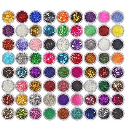 Hunpta Paleta De 72 Colores De Brillantina Para Uñas Acrílico Uv Laca En Polvo