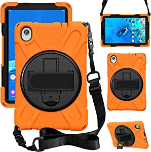 ZenRich Case for Lenovo Tab M8 FHD (2020), TB-8705F/TB-8705N Case with Kickstand Hand Strap and Shoulder Strap, zenrich Case for Lenovo Tab M8 FHD 8.0 inch Tablet,Orange