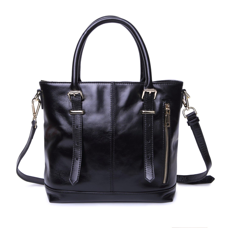 Yafeige Womens Leather Shoulder Handbags Satchel Tote Top Handle Bags Crossbody Handbag Purse for Ladies(Black)