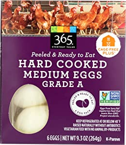 365 Everyday Value, Hard Cooked Medium Grade A Eggs, 6 ct