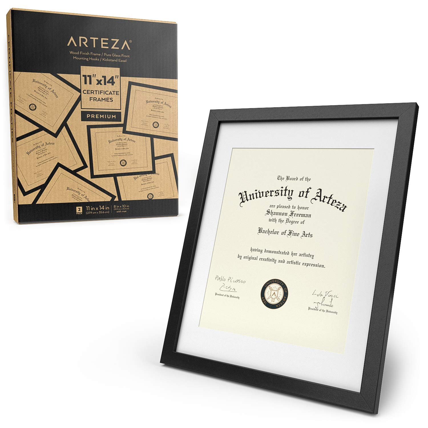 ARTEZA Document Frame - Displays 11'' x 14'' Documents w/o Mat or 8.5'' x 11'' Certificates w/Mat - 2 Pack - Wood Finish Frame - Pure Glass Front - Picture Frame for Wall - Gallery Wall