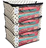 Kuber Industries 3 Pieces Polka Dots Designer Non Woven Saree Cover Sets, Lvory