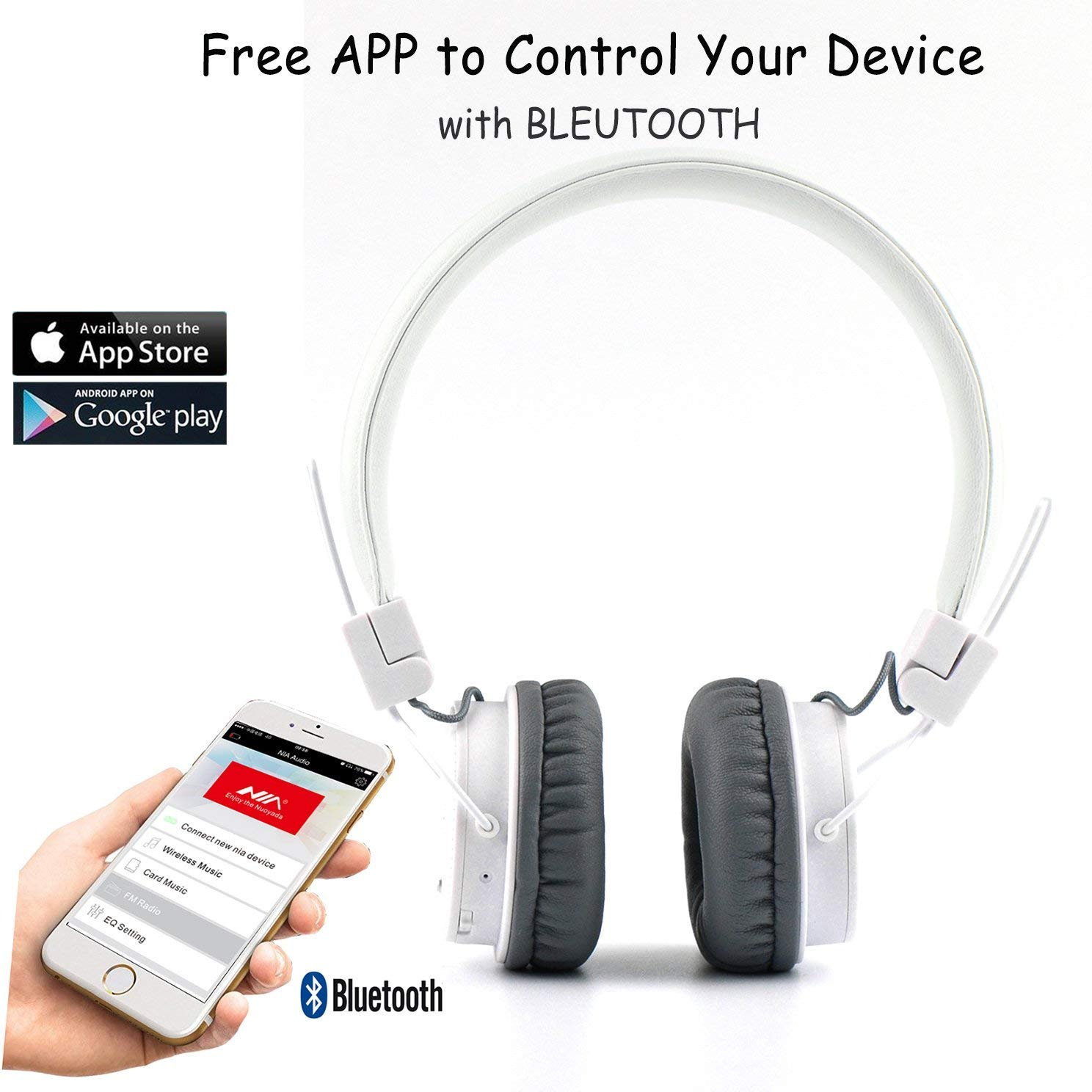 Auriculares inalámbricos Bluetooth, estéreo, plegables con micrófono para iPhone, Android y la máxima comodidad, portátil y flexible en color blanco, ...