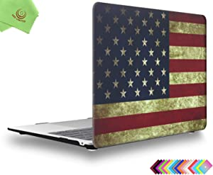 UESWILL Hard Shell Case Cover for 2020 2019 2018 MacBook Air 13 inch with Retina Display & Touch ID & USB-C Model A2179 A1932 + Microfiber Cloth, US Flag