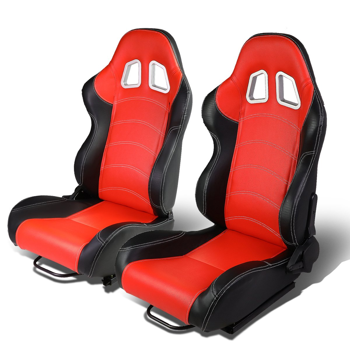 Black//Red Set of 2 Universal Double Stitch Type-R PVC Leather Reclinable Racing Seats w//Sliders