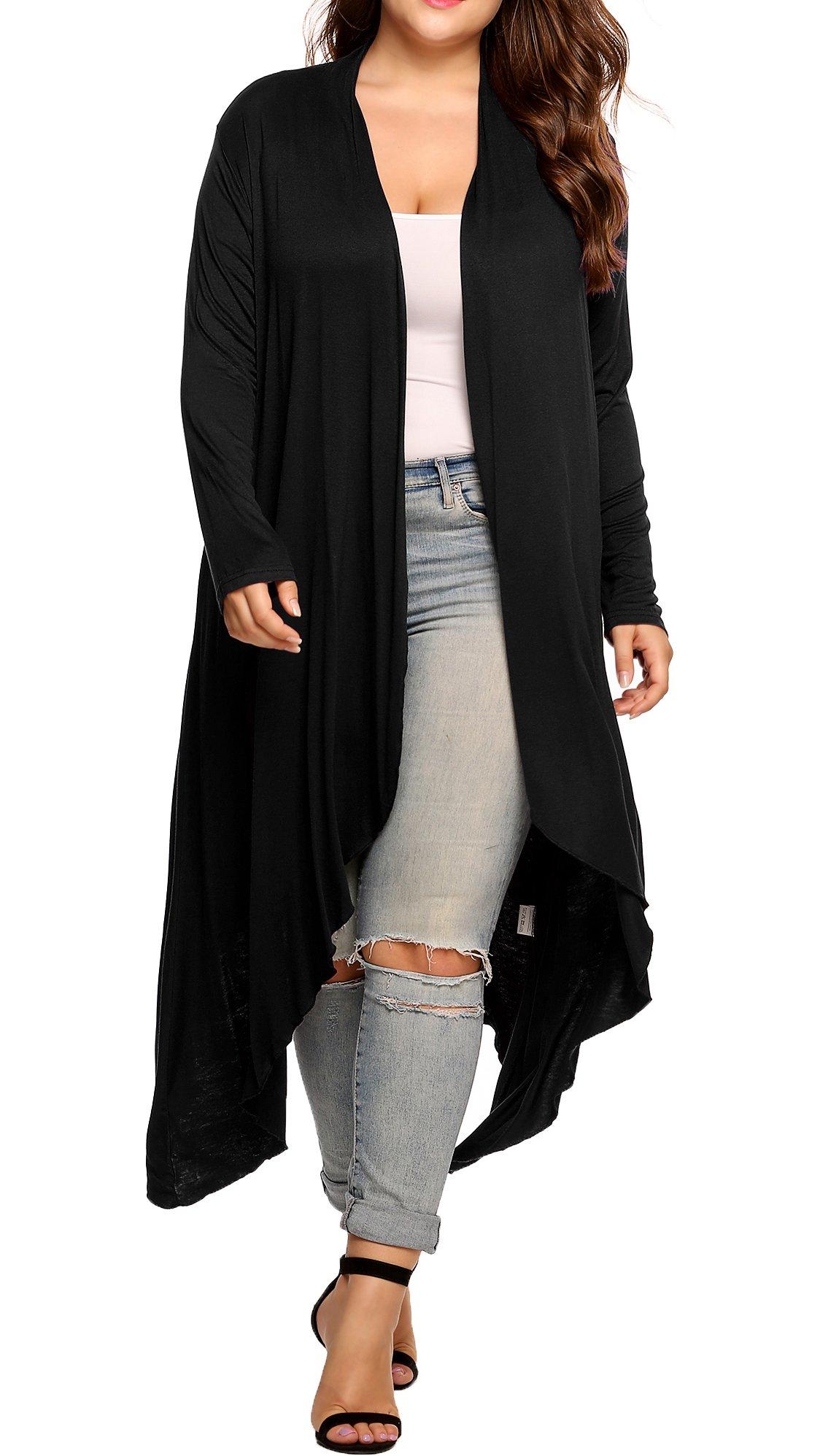 Womens Plus Szie Long Sleeve Waterfall Asymmetric Drape Open Long Maxi Cardigan,Black,XX-Large by IN'VOLAND
