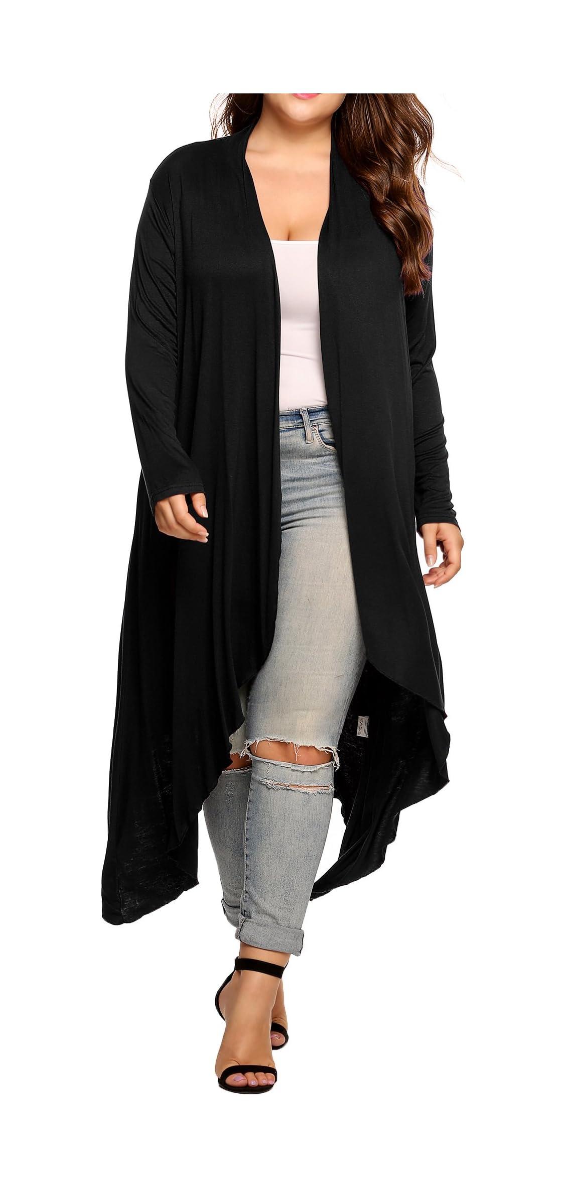 Women's Plus Size Cardigan Long Sleeve Open Front Long