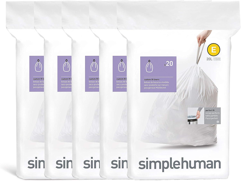 20 L // 5.3 Gallon 20 Count simplehuman code E Custom Fit Drawstring Trash Bags 1 Refill Pack