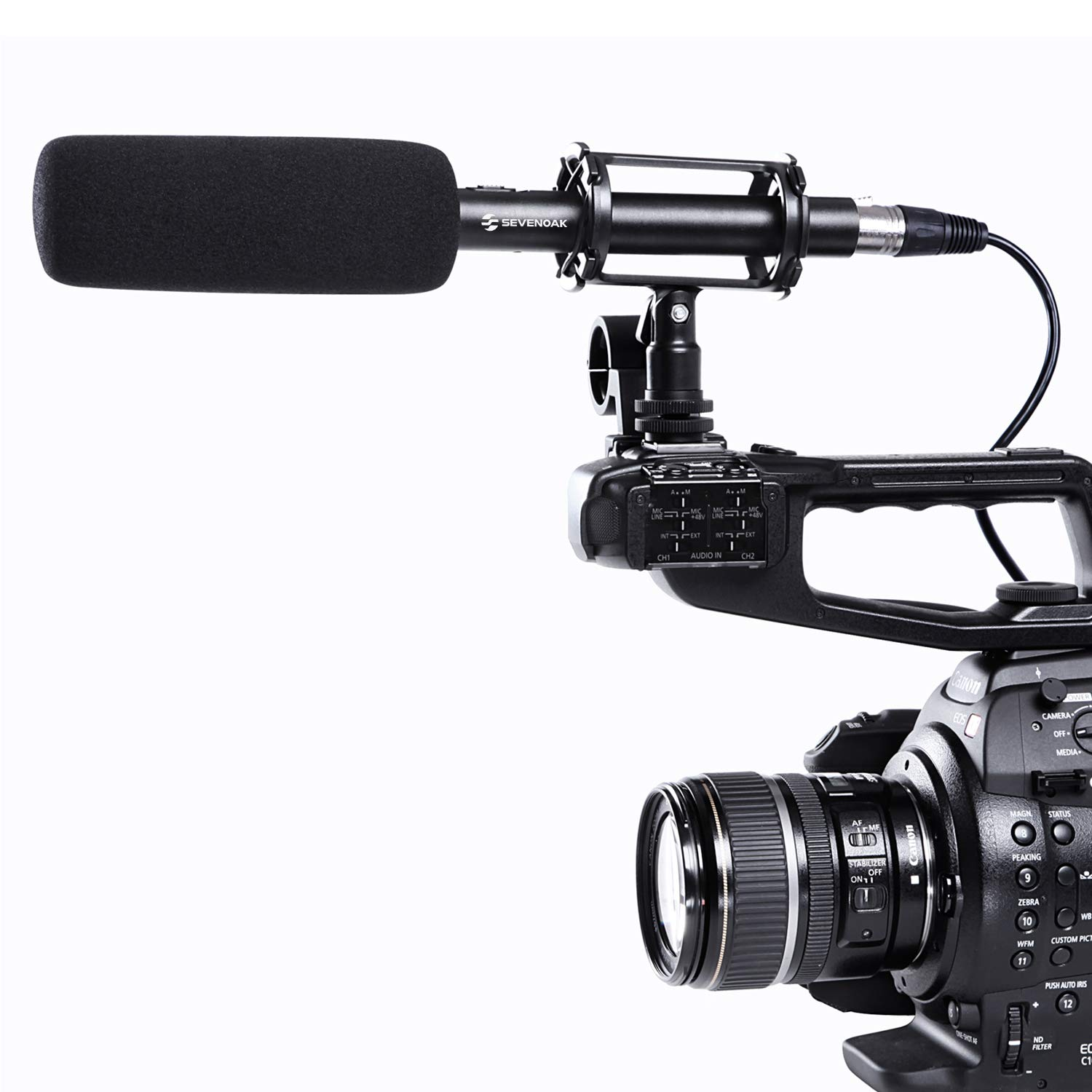 Sevenoak BY-PVM1000 Pro Broadcast-Quality Interview Shotgun Microphone with Foam Windscreen & Shock Mount 3 Pin XLR Output for Canon 6D Nikon D800 Sony Panasonic Camcorders by Sevenoak