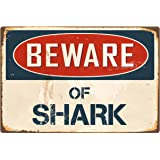 "Beware Of Shark 8"" x 12"" Vintage Aluminum Retro Metal Sign VS380"
